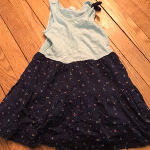 Gap Dress- blue and rainbow  fruit pattern